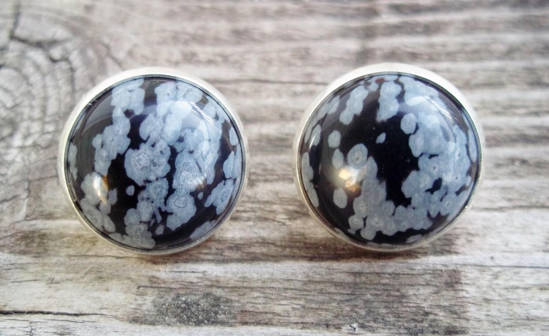 White Snowflake Obsidian : Black and white snowflake obsidian earring studs healing