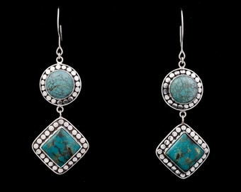Turquoise 110 - Earrings - Sterling Silver & Turquoise