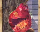 Crimson Glow. Pear Design Decorative Ceramic Art Tile Coaster. Paper Collage Design. 4.25 inches.