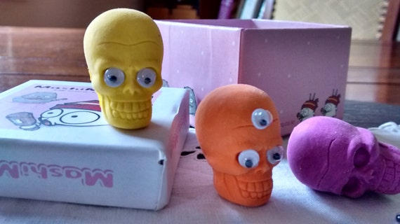 DIY 4 Pirate sugar skull wiggle eye pencil eraser toppers ...