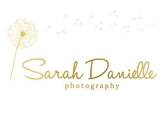 Premade Logo Design & Photography Watermark - Gold Logo Template - Dandelion Logo - Watermark Design - Photography Logo - Flower Logo 629