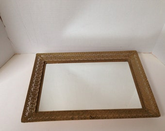 Vintage Dresser Tray Gold Filagree Metal Mirror
