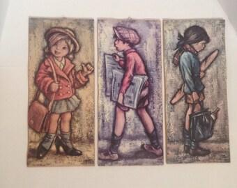 Set of Three Vintage Seventies Child Prints, Wall Hanging, Kitsch Art, Big Eyes, Mid Century Art, Seventies Art