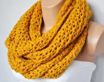 Crochet infinity scarf - Mustard infinity scarf -Chunky cowl