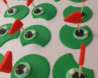 12 Golf Theme Fondant Cupcake Toppers