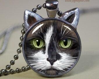 Tuxedo Cat pendant // Tuxedo Cat necklace resin pendant // cat jewelry // Cat jewelry // Cat Art  Pendant //Black and White Cat // TUX13