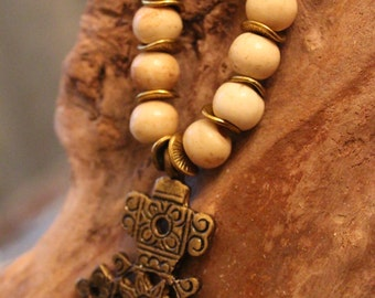 Bone and Wood Bead Ethiopian Cross Necklace