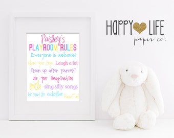 PLAYROOM RULES Wall Art- Personalized- Kids Wall Art- Childrens Playroom Rules