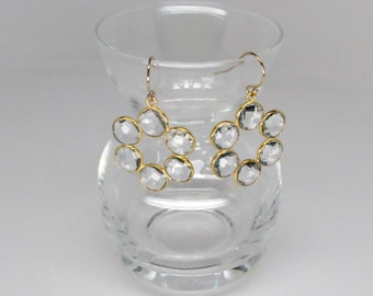 clear rock quartz crystal earrings in gold, daisy flower quartz crystal earrings,  24k gold bezel set quartz crystal