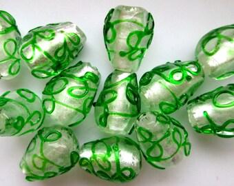 12 Vintage Lampwork Teardrop Beads