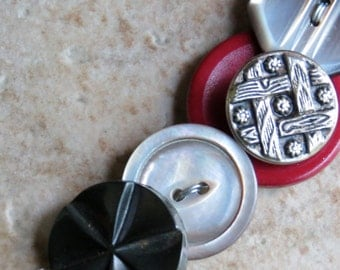 OOAK Vintage Button Necklace- black, mother of pearl, deep red, octagon button