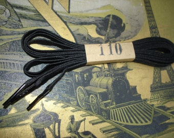 Vintage boots laces black original old stock 1930 1 pair 110cm