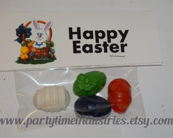 Small Easter Eggs Shaped Crayons in baggie with tag