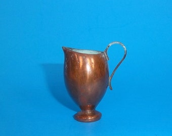 MINIATURE COPPER PITCHER Urn Vintage Stamped Marked Old Aged Patina Doll House Decor Engraved On Bottom Collectible