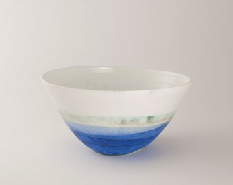 Large Handmade hand painted bright blue porcelain bowl
