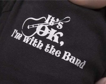 SALE It's ok I'm with the band cool guitar 2T bella toddler black shirt short sleeve new screen printed
