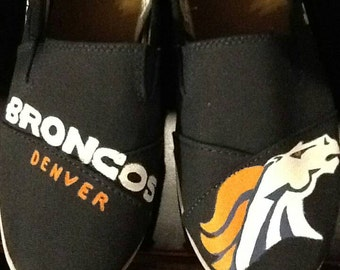 Denver Broncos hand painted flats ( like Toms)