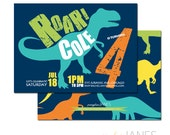 "Dinosaur Birthday Invitation - 5X7 with *bonus reverse side"""