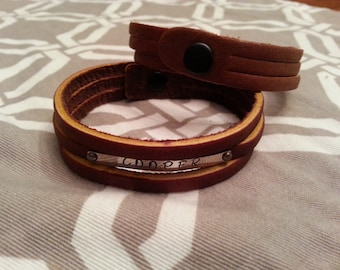 Hand Stamped Metal Leather Cuff Bracelet