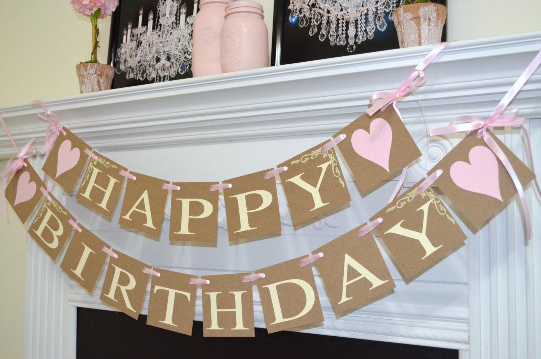 Happy birthday banner princess pink birthday 30th 40th 50 - Dekoration zum 50 geburtstag ...