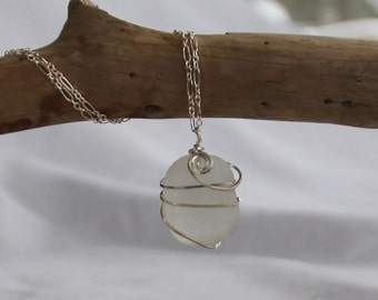 Sea glass jewelry, Beautiful frosty white sea glass necklace wrapped with sterling silver wire, Authentic Maine Sea Glass