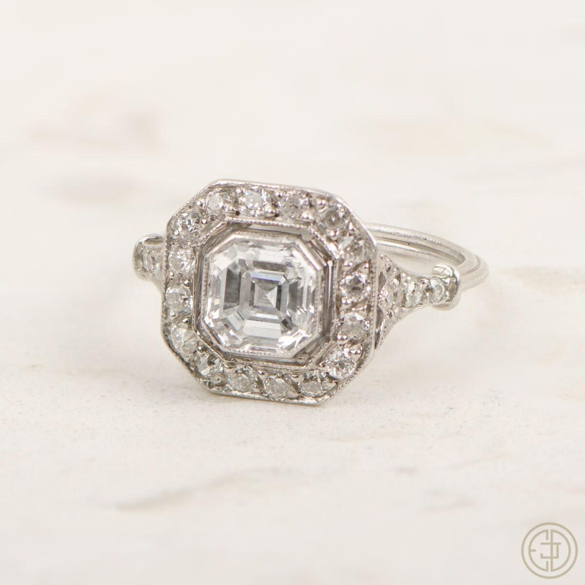 Vintage Engagement Ring Asscher Cut by EstateDiamondJewelry