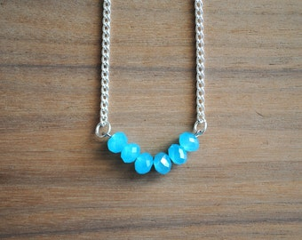 Simple Faceted Bead Necklace, Aqua Blue Necklace, Everyday Necklace