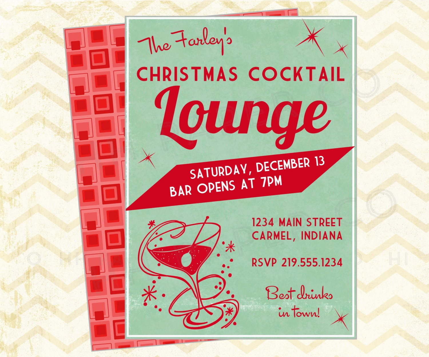 Christmas Holiday Party: Retro Christmas Cocktail Party Printable Invite Lounge