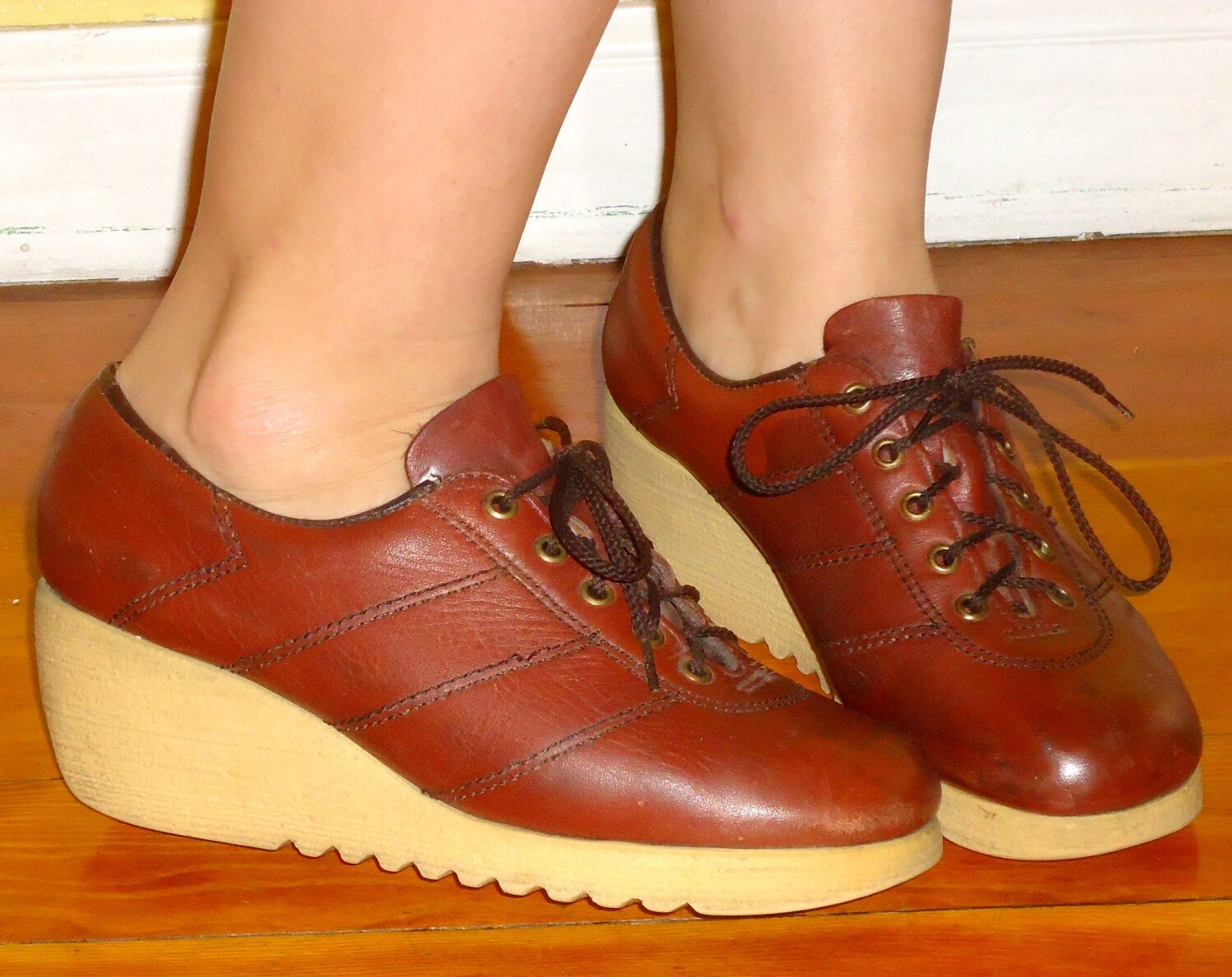 70s platforms wedge shoes lace up oxblood leather loafers