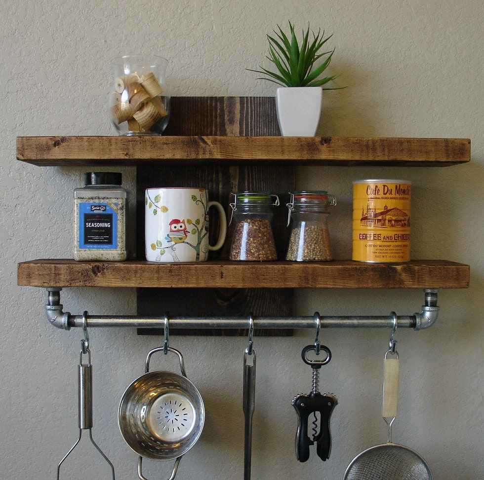 industrial rustic kitchen wall shelf spice rack with by