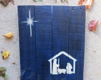 "Nativity Scene Hand Painted on Reclaimed Pallet Wood 14"" x 16"" - Star of Bethlehem - Christmas Home Decor - Blue and Black"