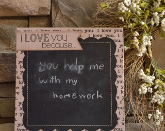 12x12 I LOVE YOU Because Chalkboard ... Spread the Love In Your Family! Wedding Gift, Anniversary Gift, Bridal Shower Gift