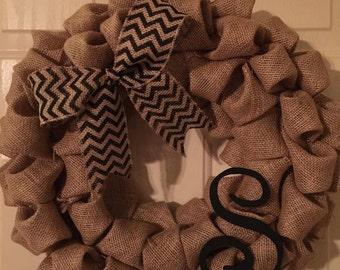 Bow + Initial Burlap Wreath
