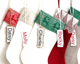 White Personalized Christmas Stocking Rustic Stocking