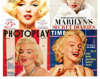 Marilyn Monroe Magazine Covers - 4x4 inch tiles - 4 Digital Collage Sheets CG-823 for Scrapbooking Coasters Stickers - Instant Download