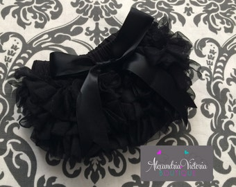 BLACK BLOOMER with BOW, chiffon ruffle diaper cover, photo prop, newborn ruffle bloomer, several colors to chose from-ready to ship!