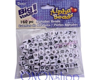 160 Alpha Beads, White letter beads, Cube letter beads, Darice Alpha Beads, Alphabet beads, 6mm alpha beads, 6mm letter beads, 082676662379