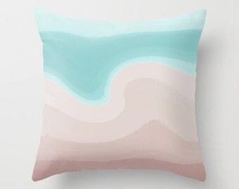 Teal Taupe Throw Pillow Cover Abstract Modern Home Decor Living room bedroom accessories Cushion