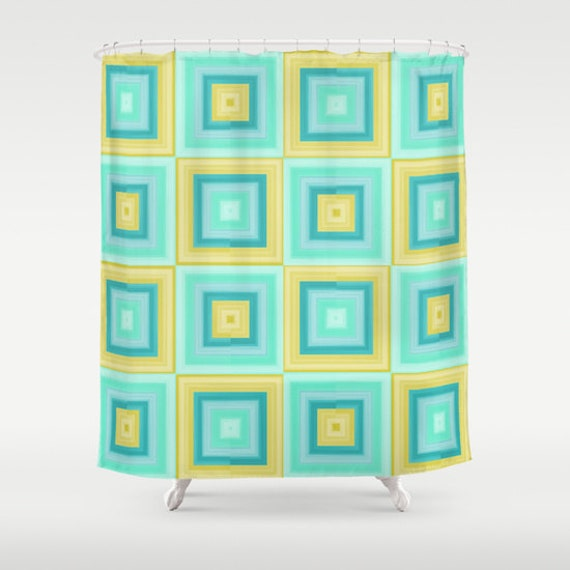 items similar to shower curtain teal mint yellow turquoise