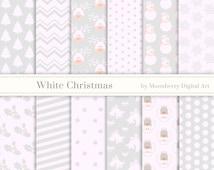 "White Christmas Digital Papers ""WHITE CHRISTMAS PAPERS"" Christmas Papers Angels, Deer, Snowflakes, Poinsettia, Christmas Tree, Snowman"