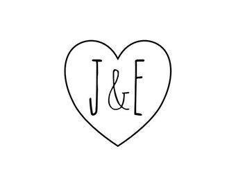 """CUSTOM HEART INITIALS stamp - heart and initials rubber stamp, save the date, wedding, gift tag stamp, card stamp, diy wedding, 1x1"""" (cts35)"""