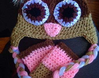 Owl hat and legwarmer combo
