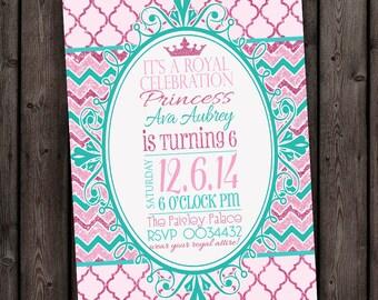 Princess Invitation, shipped fast, customized wording, royal party, digital file