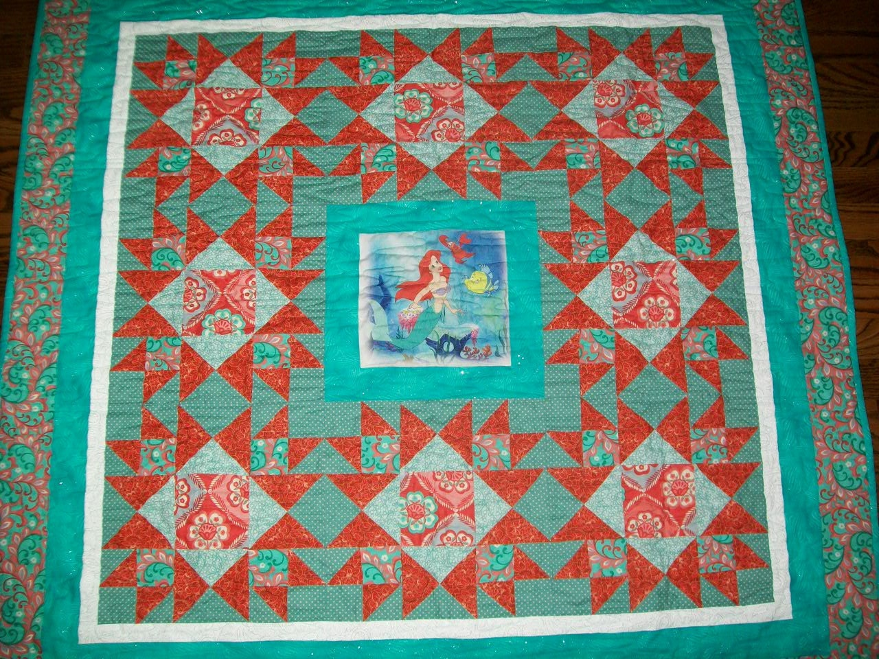 Baby Quilt Patterns Using A Panel : Baby Quilt Made With Little Mermaid Fabric Panel by GewalyArt