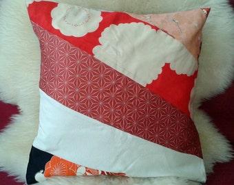 Vintage Kimono patchwork cushion / decorative pillow