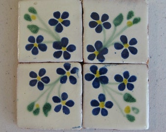 75-T30 2x2 Talavera Blue/Green Flower Tile (Shipping Included)