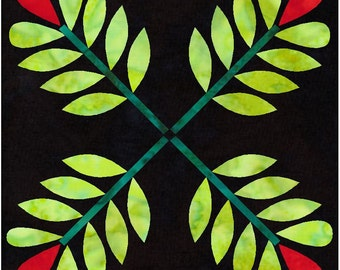 19th Century Leaves Quilt Applique Pattern Design