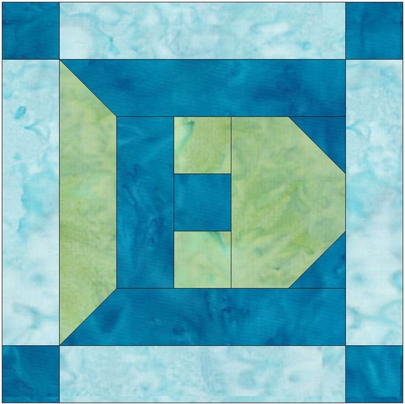 Letter E Paper Piece Foundation Quilting Block Pattern
