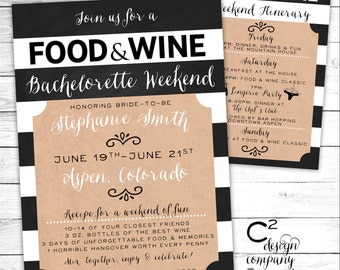 Food & Wine Bachelorette Weekend Invite with Itinerary