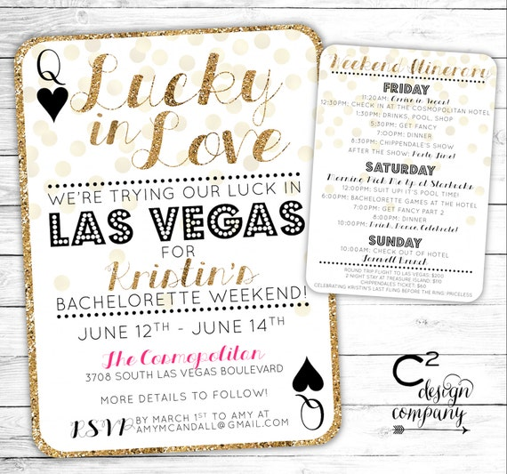 bridal shower itinerary template - lucky in love las vegas bachelorette invitation with itinerary
